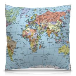 """Подушка 40х40 с полной запечаткой """"Карта мира"""" - мир, страны, карта, политика, география"""