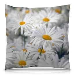 """Подушка 40х40 с полной запечаткой """"Ромашки"""" - цветы, цветок, белый, ромашка, желтый"""