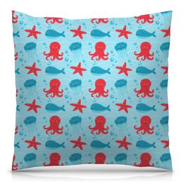 """Подушка 40х40 с полной запечаткой """"Морская"""" - море, рыба, осминог, медуза, морская звезда"""