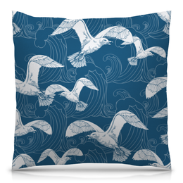 """Подушка 40х40 с полной запечаткой """"Птицы"""" - море, голубой, дом, птицы, чайка"""