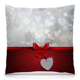 """Подушка 40х40 с полной запечаткой """"Сердца"""" - любовь, сердца, день святого валентина, 14 февраля, день влюблённых"""