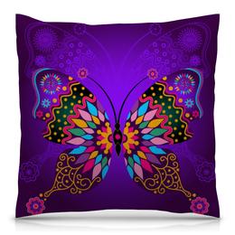 """Подушка 40х40 с полной запечаткой """"Бабочки"""" - цветы, насекомые, бабочки, весна, узор"""
