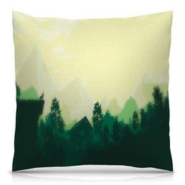 """Подушка 40х40 с полной запечаткой """"Природа леса"""" - лес, деревья, природа, горы, пейзаж"""