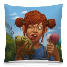 """Подушка 40х40 с полной запечаткой """"Рыженькая с жабой и мороженным"""" - арт, рисунок, девочка, мороженное, жаба"""