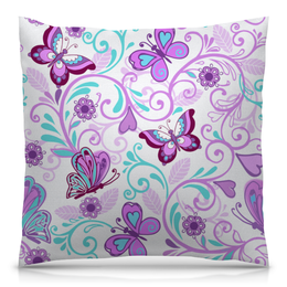 """Подушка 40х40 с полной запечаткой """"Цветные бабочки"""" - бабочки, цветы, узор, весна, природа"""