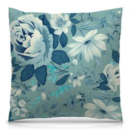 """Подушка 40х40 с полной запечаткой """"Цветы. Акварель"""" - цветы, листья, синий, акварель"""