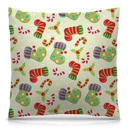 """Подушка 40х40 с полной запечаткой """"Праздник"""" - праздник, конфеты, новый год, подарки, носок"""