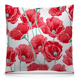 """Подушка 40х40 с полной запечаткой """"Красные маки"""" - цветы, ярко, природа, маки, красивые цветы"""