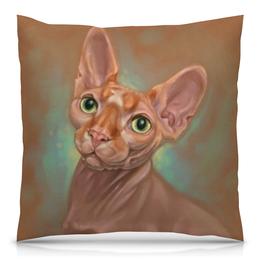 """Подушка 40х40 с полной запечаткой """"Сфинкс"""" - рисунок, кошки, коты, иллюстрация, сфинкс"""