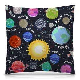 """Подушка 40х40 с полной запечаткой """"Планеты"""" - звезды, космос, планеты, созвездия, галактика"""