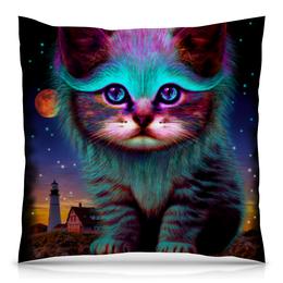 """Подушка 40х40 с полной запечаткой """"Котёнок"""" - космос, коты, абстракция, неон, galaxy"""