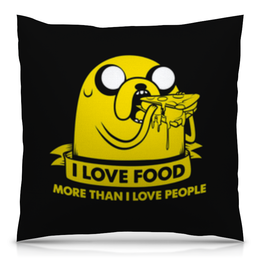 """Подушка 40х40 с полной запечаткой """"Джейк Пес - I love food"""" - dog, собака, джейк, jake, люблю поесть"""