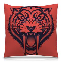 """Подушка 40х40 с полной запечаткой """"Саблезубый тигр"""" - рисунок, графика, тигр, саблезубый"""