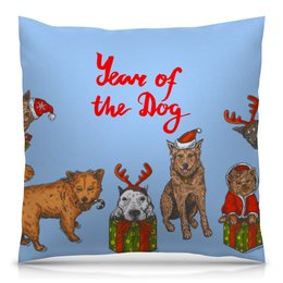 """Подушка 40х40 с полной запечаткой """"новый год"""" - новый год, зима, собака, подарок, год собаки"""
