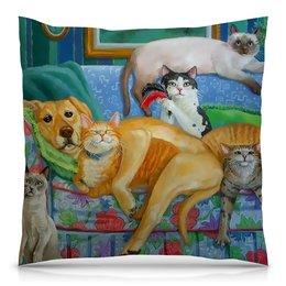 """Подушка 40х40 с полной запечаткой """"Семейный вечер """" - арт, котики, песик, собачникам, кошатникам"""