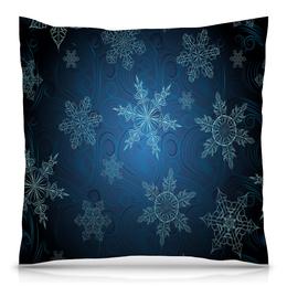 """Подушка 40х40 с полной запечаткой """"Снежинка"""" - зима, красивая, яркая, снежинка"""