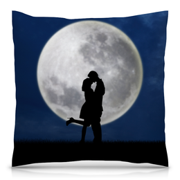 """Подушка 40х40 с полной запечаткой """"Влюбленные"""" - влюбленные, любовь, луна, ночь, поцелуй"""