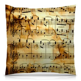 """Подушка 40х40 с полной запечаткой """"Мелодия"""" - музыка, ноты, песня, мелодия, газета"""