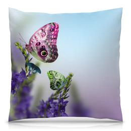 """Подушка 40х40 с полной запечаткой """"Бабочки"""" - бабочки, цветы, цветные, природа, насекомые"""