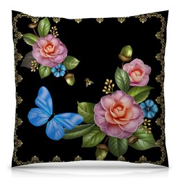 """Подушка 40х40 с полной запечаткой """"Цветы фэнтэзи"""" - бабочки, цветы, стиль, красота, желуди"""