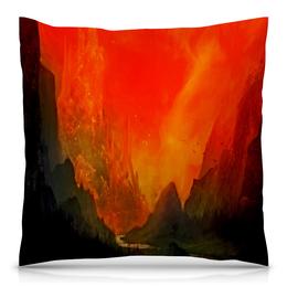 """Подушка 40х40 с полной запечаткой """"Пламенный закат"""" - небо, природа, закат, горы, пейзаж"""