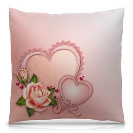 """Подушка 40х40 с полной запечаткой """"Сердца"""" - сердце, любовь, роза"""