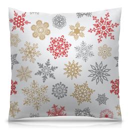 """Подушка 40х40 с полной запечаткой """"Зимние кружева"""" - дед мороз, санта, новый год, снег, праздник"""