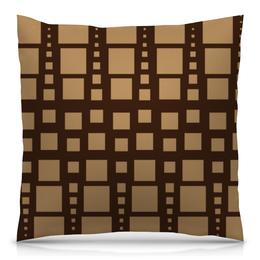 """Подушка 40х40 с полной запечаткой """"Геометрия"""" - фигура, треугольник, квадрат, геометрия, коричневый"""