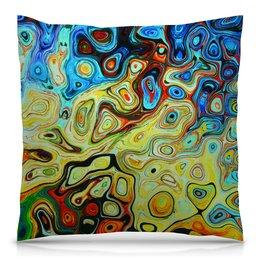 """Подушка 40х40 с полной запечаткой """"Подушка Liquid motion"""" - цветной, яркий, мрамор"""
