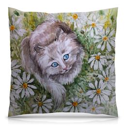"""Подушка 40х40 с полной запечаткой """"Ромашковый кот """" - кот, цветы, рисунок, ромашки, кот в цветах"""