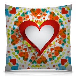 """Подушка 40х40 с полной запечаткой """"День святого Валентина"""" - любовь, сердца, день святого валентина, 14 февраля, день влюблённых"""