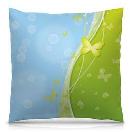 """Подушка 40х40 с полной запечаткой """"Летний мотив"""" - бабочки, лето, небо, трава, мыльные пузыри"""