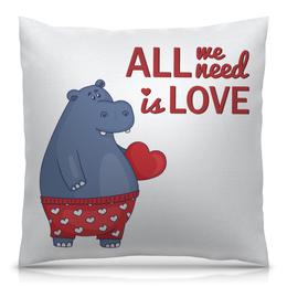 """Подушка 40х40 с полной запечаткой """"Влюбленный бегемот"""" - сердце, любовь, арт, надпись, бегемот"""