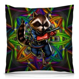 """Подушка 40х40 с полной запечаткой """"Стражи Галактики: Реактивный Енот"""" - marvel, стражи галактики, реактивный енот, rocket raccoon, guardians of the galaxy"""