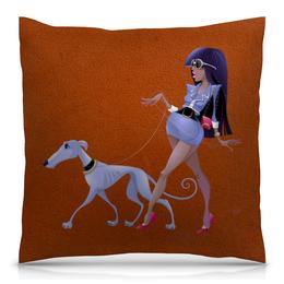"""Подушка 40х40 с полной запечаткой """"Леди с собакой"""" - очки, собака, пёс, борзая, год собаки"""