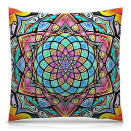 "Подушка 40х40 с полной запечаткой ""Mandala HD2"" - узор, ретро, классика, этно, симметрия"