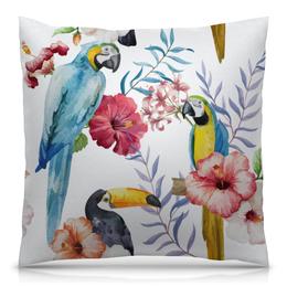"""Подушка 40х40 с полной запечаткой """"Птицы"""" - цветы, птицы, попугай, тукан, какаду"""