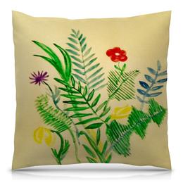 """Подушка 40х40 с полной запечаткой """"Растения"""" - цветы, листья, природа"""