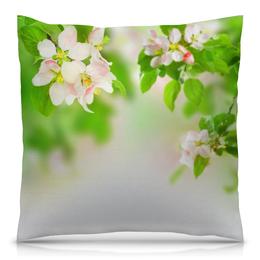 """Подушка 40х40 с полной запечаткой """"Цветенье дерева"""" - цветы, листья, весна, природа, дерево"""
