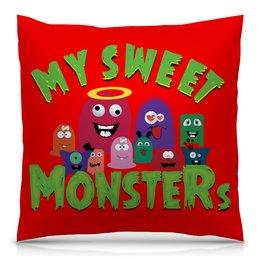 """Подушка 40х40 с полной запечаткой """"Пушистые монстры"""" - хэллоуин, монстр, дракон, комиксы, зубы"""