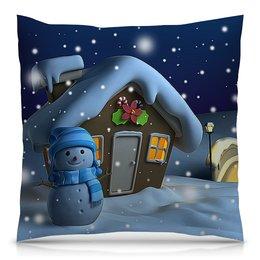 """Подушка 40х40 с полной запечаткой """"ЗИМНИЙ ВЕЧЕР"""" - стиль, домик, красота, яркость, снеговик"""