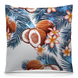 """Подушка 40х40 с полной запечаткой """"Кокосы"""" - фрукты, рисунок, тропики, кокосы"""