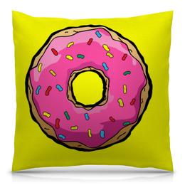 """Подушка 40х40 с полной запечаткой """"пончик"""" - симпсоны, пончик"""