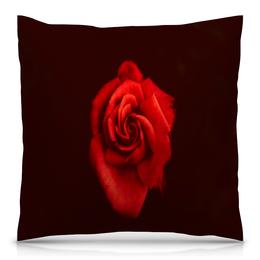 """Подушка 40х40 с полной запечаткой """"Красная роза"""" - цветы, цветок, красный, роза, розы"""
