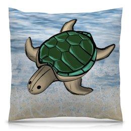 """Подушка 40х40 с полной запечаткой """"Морская черепашка"""" - лето, животные, море, отдых, океан"""