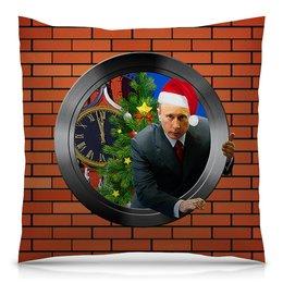 """Подушка 40х40 с полной запечаткой """"С Новым Годом! (Путин)"""" - юмор, новый год, путин, президент, кремль"""