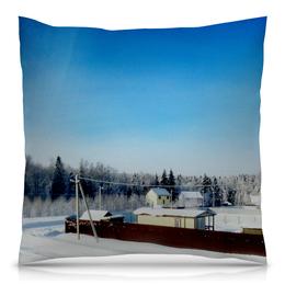 "Подушка 40х40 с полной запечаткой ""Зима. Мороз. Солнце."" - зима, солнце, снег, мороз, дача"