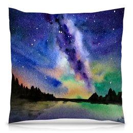"""Подушка 40х40 с полной запечаткой """"Природа"""" - звезды, небо, краски, природа, пейзаж"""