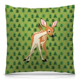 """Подушка 40х40 с полной запечаткой """"Оленёнок"""" - животные, оленёнок, лес, олень"""