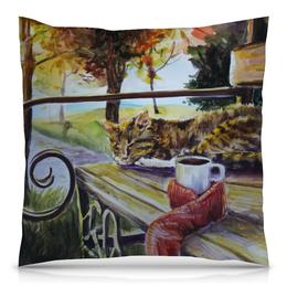"""Подушка 40х40 с полной запечаткой """"Осеннее тепло"""" - кот, осень, чай, осенний парк"""